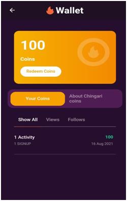 chingari app earning proof