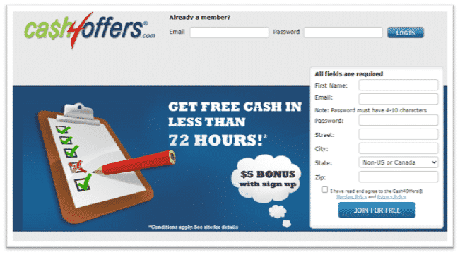cash4offers create account