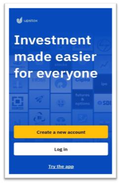 Create A New Account (सबसे पहले अपस्टोक्स पर अकाउंट क्रिएट करे)