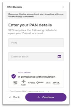 Fill Your Pan Card Detail in Upstox (पैन कार्ड नंबर दर्ज करें)