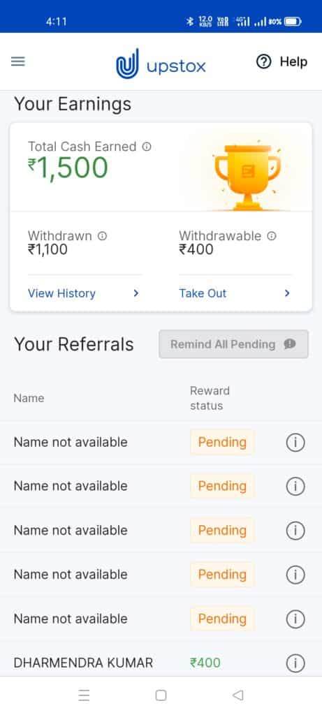 Upstox App Refer and Earning Proof