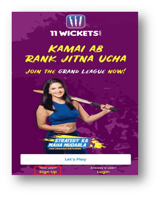 11Wickets App signup