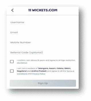 11wickets app create account